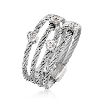 ALOR Classique Gray Stainless Steel Multi-Cable Band With 18-Karat White Gold and Diamond Accents. Size 7, , default