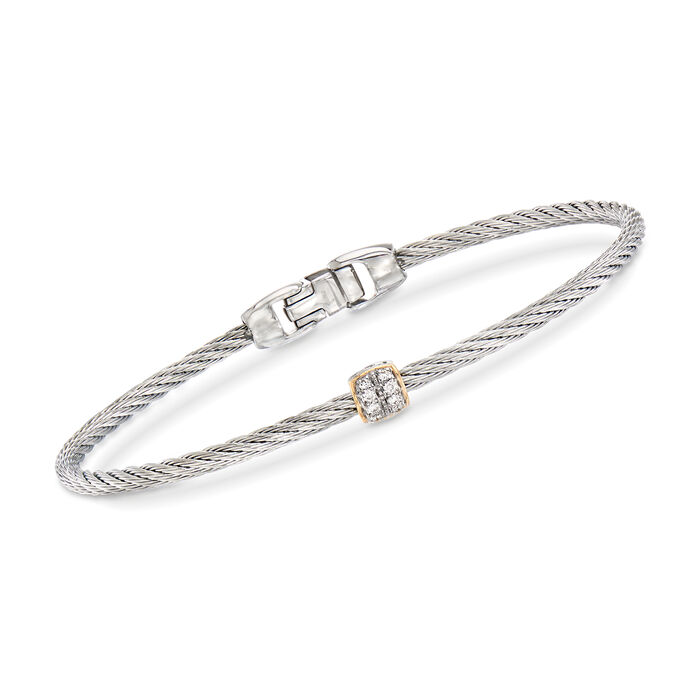 """ALOR """"Classique"""" Gray Stainless Steel Cable Bracelet with Diamond Accents and 18kt Yellow Gold. 7"""", , default"""