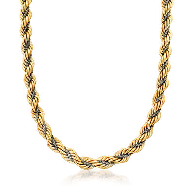 C. 1990 Vintage 14kt Two-Tone Gold Twisted Rope Chain, , default