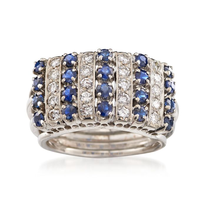 C. 1970 Vintage 1.00 ct. t.w. Sapphire and .60 ct. t.w. Diamond Ring in 18kt White Gold. Size 6.5, , default