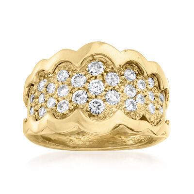 C. 1980 Vintage 1.00 ct. t.w. Diamond Scalloped Ring in 14kt Yellow Gold