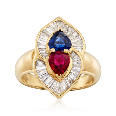 C. 1980 Vintage .75 Carat and .75 Carat Sapphire Heart-Shaped Ring with Diamonds in 18kt Yellow Gold , , default