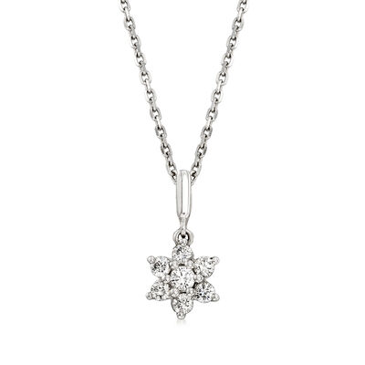 C. 1990 Vintage .25 ct. t.w. Diamond Flower Pendant Necklace in 18kt White Gold, , default