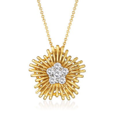 Simon G. .31 ct. t.w. Diamond Flower Pendant Necklace in 18kt Yellow Gold, , default