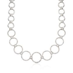 C. 1990 Vintage 3.17 ct. t.w. Diamond Open Circle-Link Necklace in 18kt White Gold, , default