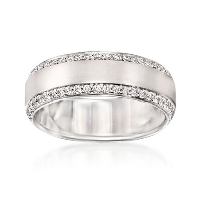 Henri Daussi Men's .80 ct. t.w. Diamond Wedding Ring in 14kt White Gold, , default