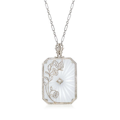 C. 1970 Vintage Glass Rectangular Pendant Necklace with Diamond Accent in 14kt White Gold