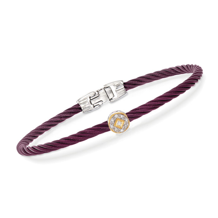 "ALOR ""Shades of Alor"" Burgundy Carnation Cable Station Bracelet with Diamond Accents in Stainless Steel and 18kt Yellow and White Gold. 7"""