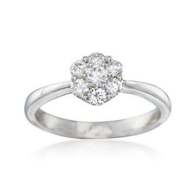 C. 2000 Vintage .50 ct. t.w. Diamond Cluster Ring in 18kt White Gold, , default