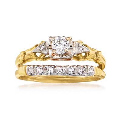 C. 1950 Vintage .43 ct. t.w. Diamond Bridal Set: Engagement and Wedding Rings in 14kt and 18kt Gold