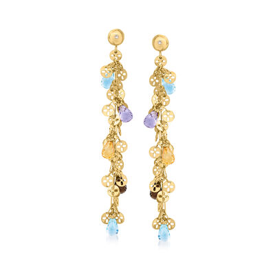 C. 2000 Vintage Chimento 10.20 ct. t.w. Multi-Gemstone Drop Earrings with Diamond Accents in 18kt Yellow Gold
