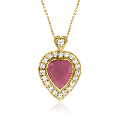 C. 1980 Vintage 5.00 Carat Ruby Heart Pendant Necklace with .70 ct. t.w. Diamonds in 14kt Yellow Gold