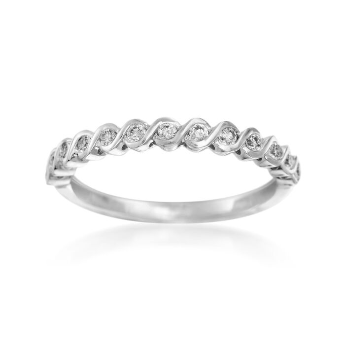 Henri Daussi .17 ct. t.w. Diamond Wedding Ring in 14kt White Gold