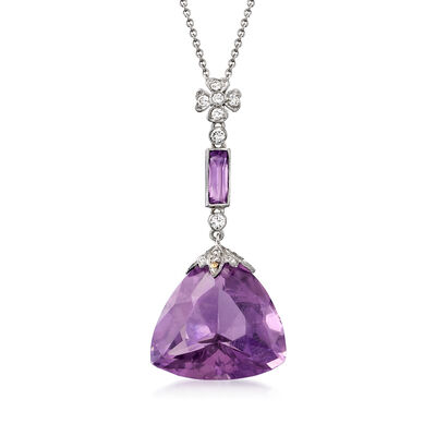 C. 2000 Vintage 20.95 ct. t.w. Amethyst and .35 ct. t.w. Diamond Pendant Necklace in 18kt and 14kt White Gold