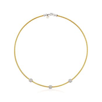 """ALOR Classique .14 Carat Total Weight Diamond and Yellow Stainless Steel Station Necklace With 18-Karat White Gold. 17.5"""", , default"""
