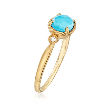 Gabriel Designs Synthetic Turquoise and 1.00 Carat Rock Crystal Quartz Ring with Diamond Accents in 14kt Gold, , default