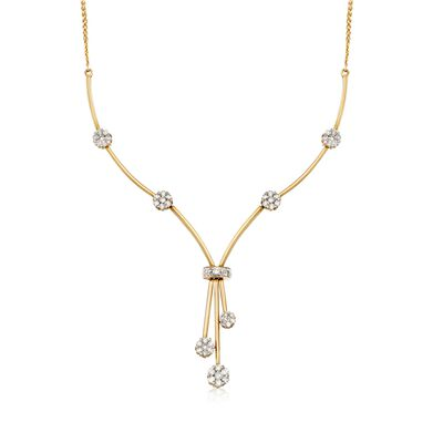 C. 2000 Vintage 2.00 ct. t.w. Diamond Floral Station Tassel Drop Y-Necklace in 14kt Yellow Gold, , default