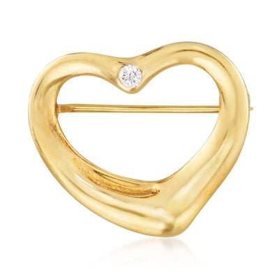 """C. 1980 Vintage Tiffany Jewelry """"Elsa Peretti"""" 18kt Yellow Gold Heart Pin with Diamond Accent, , default"""