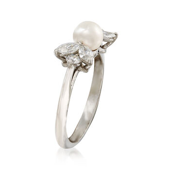 C. 1990 Vintage Tiffany Jewelry 5mm Cultured Pearl and .50 ct. t.w. Diamond Ring in Platinum. Size 5.5, , default