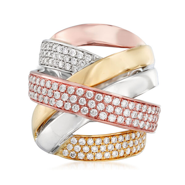 1.60 ct. t.w. Pave Diamond Highway Ring in 14kt Tri-Colored Gold. #925058