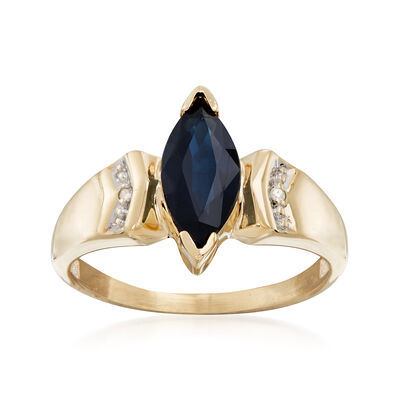C. 1980 Vintage 1.00 Carat Sapphire Ring with Diamond Accent in 10kt Yellow Gold, , default