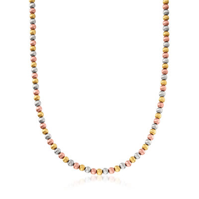 C. 1990 Vintage 14kt Tri-Colored Gold Bead Necklace