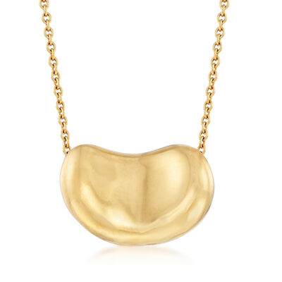 """C. 1990 Vintage Tiffany Jewelry """"Elsa Peretti"""" 18kt Yellow Gold Large Bean Necklace, , default"""