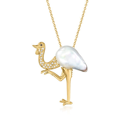 C. 1980 Vintage 25mm Cultured South Sea Pearl Bird Pendant Necklace with .25 ct. t.w. Diamonds and Sapphire Accent in 18kt Yellow Gold
