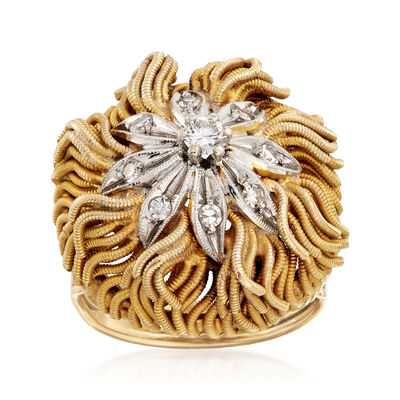 C. 1970 Vintage .30 ct. t.w. Diamond Floral Ring in 18kt Yellow Gold, , default
