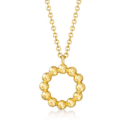 Gabriel Designs 14kt Yellow Gold Beaded-Circle Pendant Necklace
