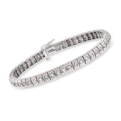C. 1980 Vintage 3.00 ct. t.w. Diamond Tennis Bracelet in 14kt White Gold, , default