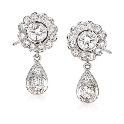 C. 1970 Vintage 2.35 ct. t.w. Diamond Drop Earrings in Platinum, , default