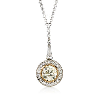 C. 2000 Vintage 1.49 ct. t.w. Yellow and White Diamond Drop Pendant Necklace in 14kt White Gold  , , default