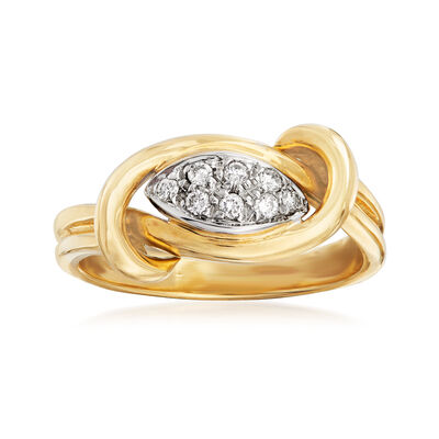 C. 1990 Vintage .15 ct. t.w. Diamond Knot Ring in 18kt Two-Tone Gold, , default
