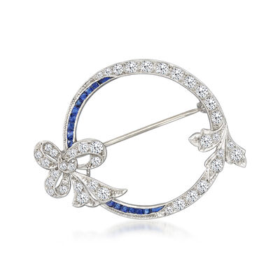 C. 1940 Vintage 1.65 ct. t.w. Diamond and .75 ct. t.w. Synthetic Sapphire Circle with Bow Pin in Platinum