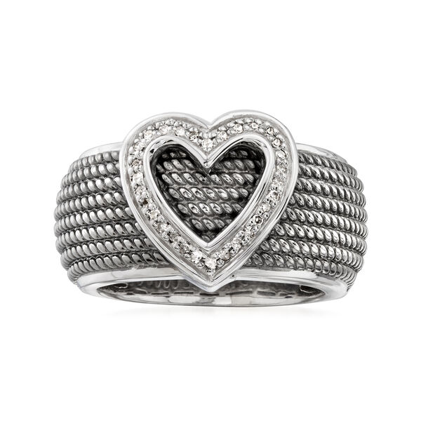 .10 ct. t.w. Diamond Heart Ring in Sterling Silver with Black Rhodium. #925624