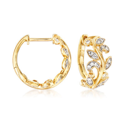 Gabriel Designs .28 ct. t.w. Diamond Leaf Hoop Earrings in 14kt Yellow Gold, , default