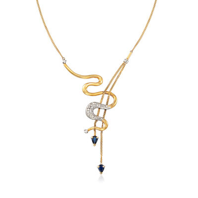 C. 1990 Vintage 1.10 ct. t.w. Sapphire and .40 ct. t.w. Diamond Snake Drop Necklace in 14kt Yellow Gold, , default