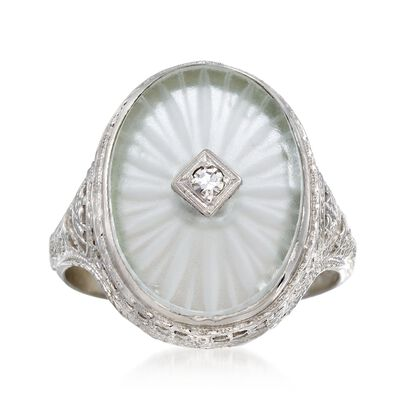 C. 1950 Vintage Rock Crystal Ring with Diamond Accents in 14kt White Gold, , default