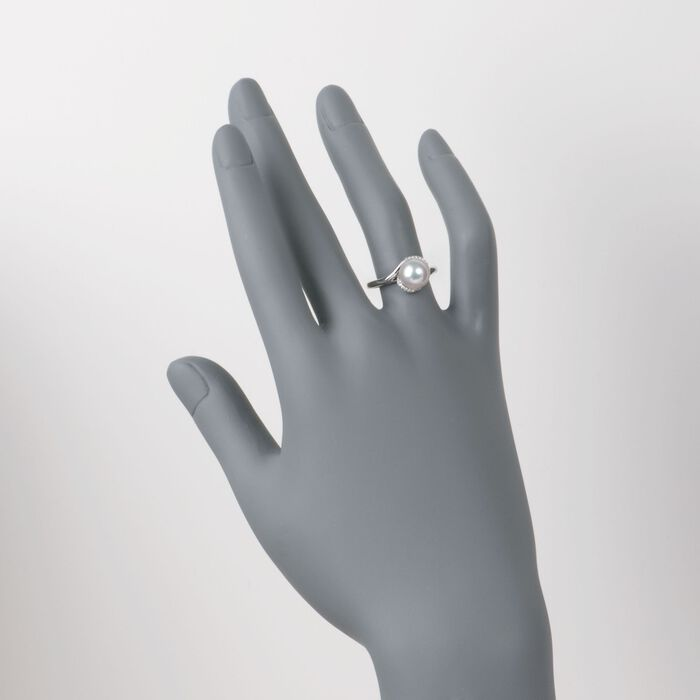 Mikimoto 8mm Akoya Pearl Ring with Diamonds in 18kt White Gold