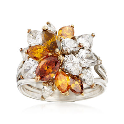 C. 1990 Vintage 4.50 ct. t.w. Multicolored Diamond Cluster Ring in Platinum and 18kt Yellow Gold, , default