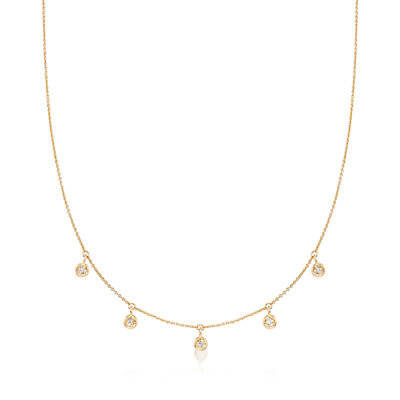 Roberto Coin .23 ct. t.w. Diamond Dangle Station Necklace in 18kt Yellow Gold, , default