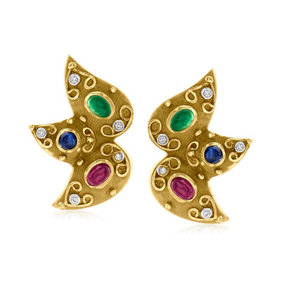 C. 1980 Vintage 3.70 ct. t.w. Multi-Gemstone Earrings with .15 ct. t.w. Diamonds in 14kt Yellow Gold