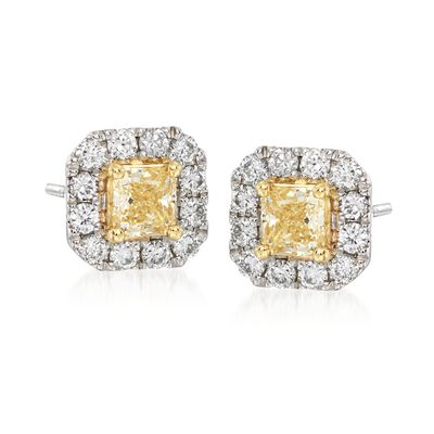 Gregg Ruth .94 ct. t.w. Yellow and White Diamond Earrings in 18kt White Gold, , default