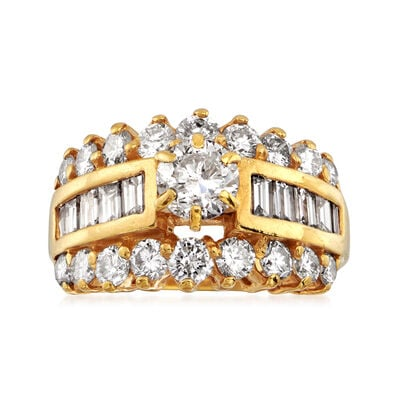 C. 1980 Vintage 2.15 ct. t.w. Diamond Ring in 14kt Yellow Gold, , default