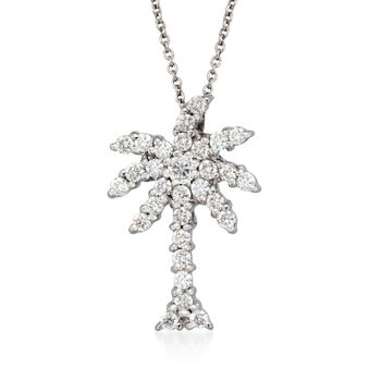 """Roberto Coin Tiny Treasures .54 Carat Total Weight Diamond Palm Tree Necklace in 18-Karat White Gold. 18"""", , default"""