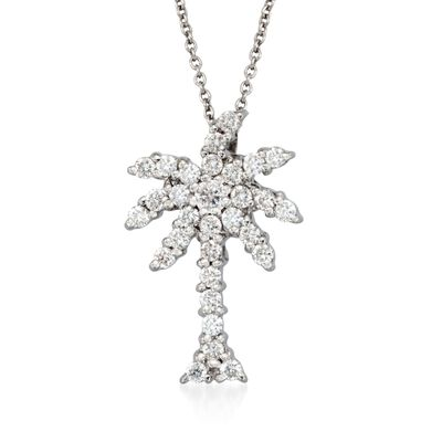 "Roberto Coin ""Tiny Treasures"" .54 ct. t.w. Diamond Palm Tree Necklace in 18kt White Gold, , default"