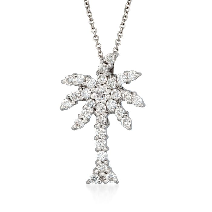 "Roberto Coin Tiny Treasures .54 Carat Total Weight Diamond Palm Tree Necklace in 18-Karat White Gold. 18"", , default"