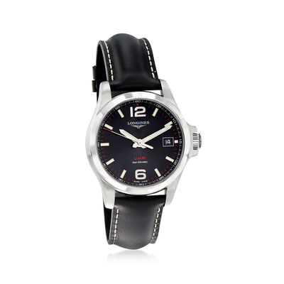 Longines Conquest V.H.P. Men's 41mm Stainless Steel Watch with Black Leather Strap