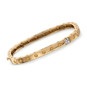 "Roberto Coin Pois Moi Diamond Accent Square Bangle in 18-Karat Yellow Gold. 7"", , default"